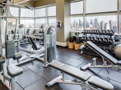 Closeup of Fitness equipment with view over the river to city