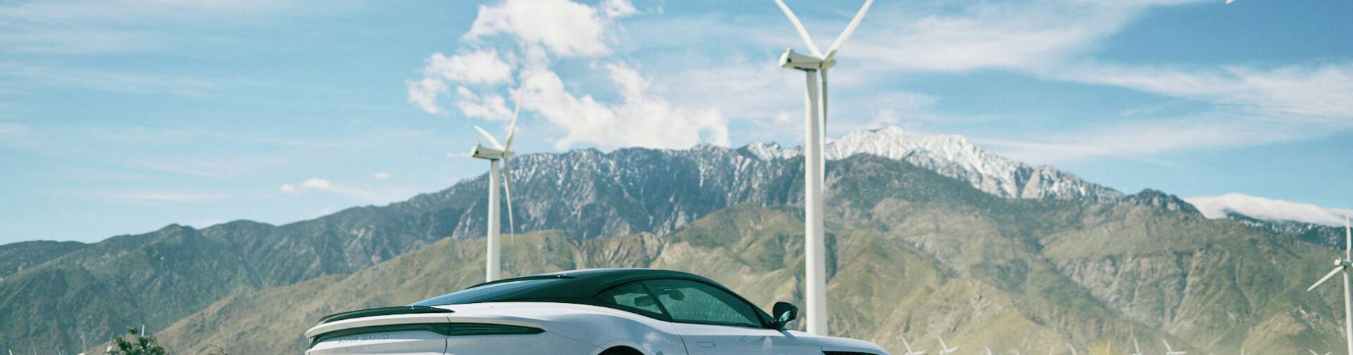 Aston Martin car in superbloom field with windmill