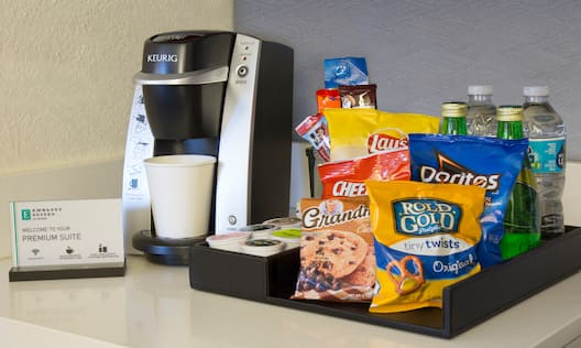 Coffee Machine, Snacks, and Water