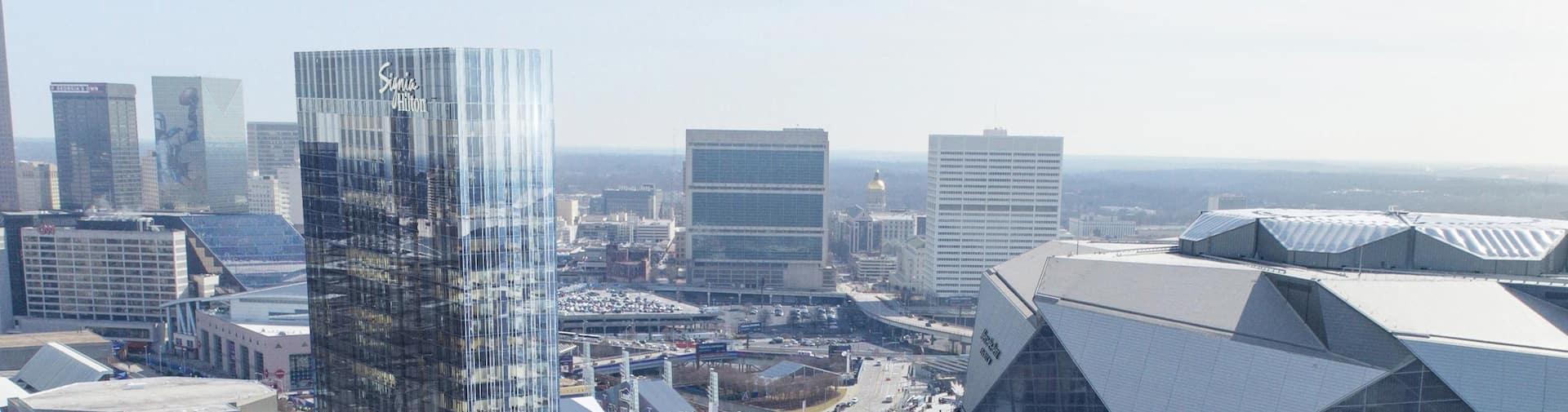Aerial view of Signia Hilton Atlanta exterior