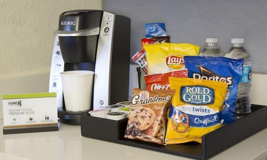 Keurig Coffee Maker, Snacks and Water