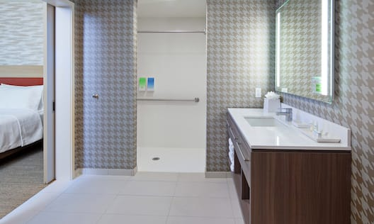 Accessible Guest Bathroom with Roll-In Shower