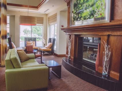 Lobby Fireplace and Sofa Seating