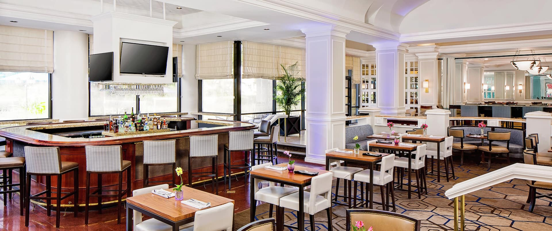 Restaurant Dining Area with Chairs, Tables, Bar Counter and Bar Stools