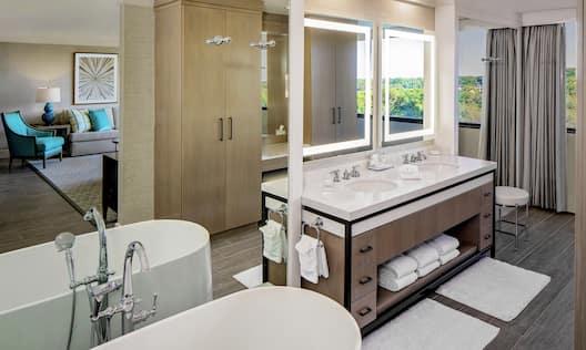 Guest Bathroom with Vanity and Bath Tub