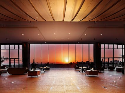 View of Sunset from Hotel Lobby