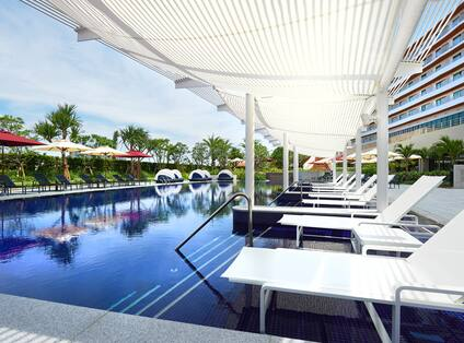 Outdoor Swimming Pool with Deck Chairs