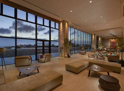 Lobby lounge at evening