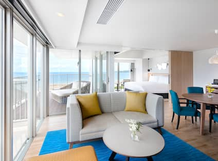 Suite Living Area with Large Windows and Ocean View