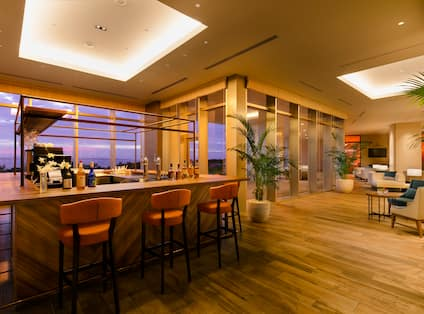 View of Bar Area with Large Windows