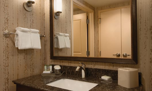 Guest Bathroom With Vanity Mirror, Sink, Towels, and Bath Amenities