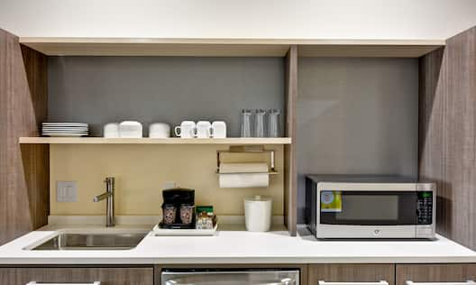 Guest Kitchen Counter with Microwave Roll Holder and Sink Suite