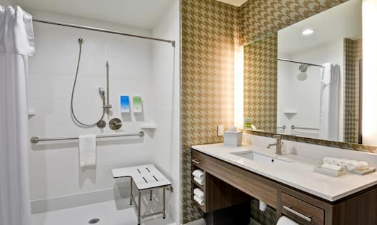 Guest Accessible Bathroom Roll-In Shower Mirror and Sink Vanity