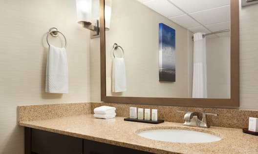 Wall Art and Shower Curtain Reflected in Vanity Mirror, Sink, Fresh Towels, and Amenities in Standard Bathroom