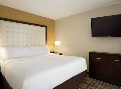 One King Bed Guest Bedroom with Wall Mounted HDTV