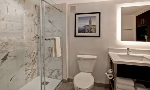 guest bathroom with shower and vanity