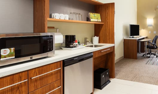 Accessible Guestroom Kitchen Suite with Room Technology and Work Desk