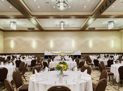 Conference and Event Space with Banquet Style Setup