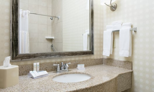 Guest Room Bathroom with Vanity and Amenities