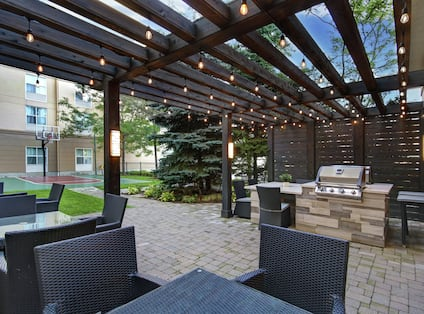 Outdoor Patio Seating and View of Sport Court