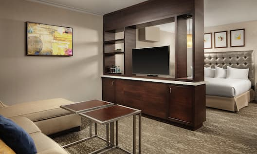 a sofa seating area with a tv stand room divider