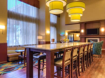 High table and chairs in lobby