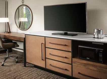 Guest Room Desk, TV, and Microwave