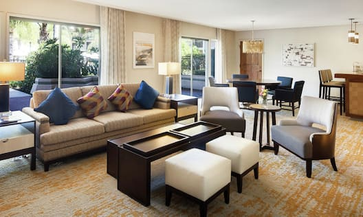 Spacious living room area of Presidentail Suite