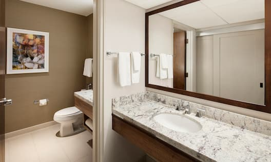 Open Doorway to View of Wall Art and Toilet, Large Vanity Mirror, Fresh Towels, and Sink
