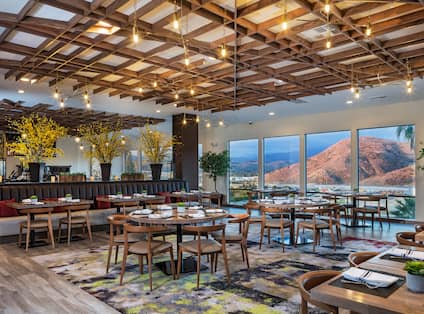 Restaurant Seating Area with View over the Mountains
