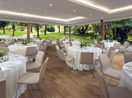 Outdoor covered space set up for event