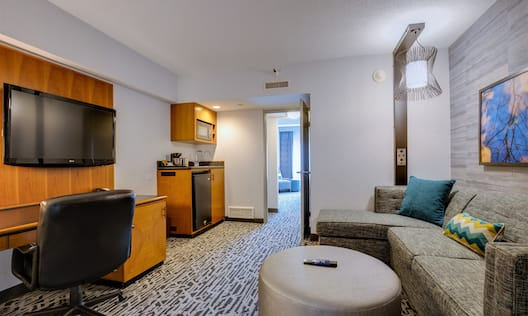 Suite Living Area with wet bar and tv