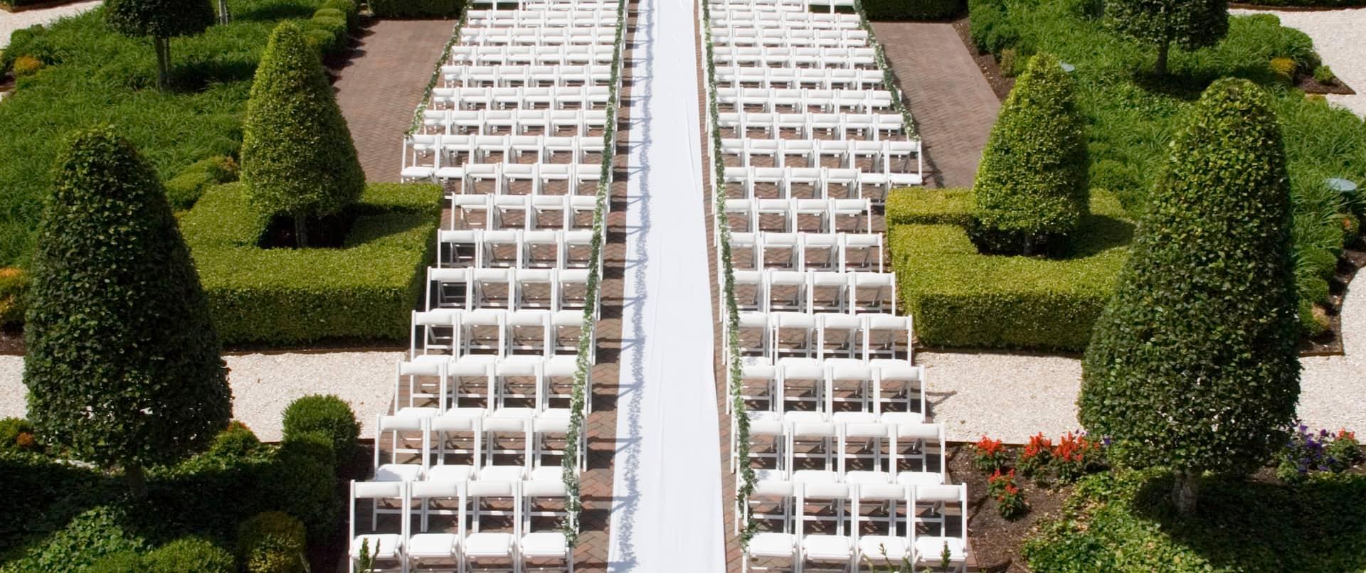 Wedding Ceremony Setup in Outdoor Courtyard