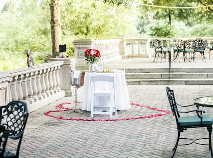 Romantic Proposal Table on Outdoor Terrace Patio