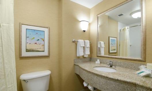 Guestroom Bathroom with Mirror, Vanity, Toilet, Bathtub, and Shower
