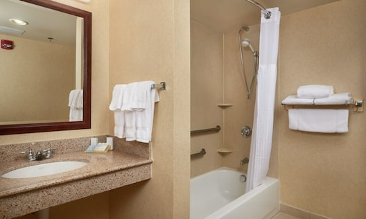 Shower and Bathtub with Grab Bars and Handheld Showerhead in Accessible Bathroom
