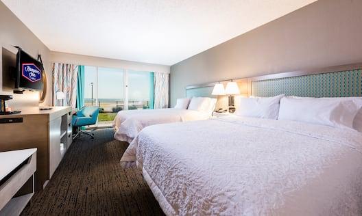 Closeup of Two Queen Beds in Guest Room