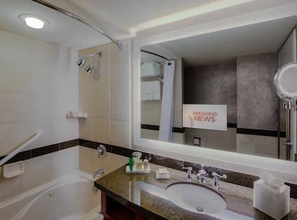Jacuzzi Bathroom with TV in Mirror