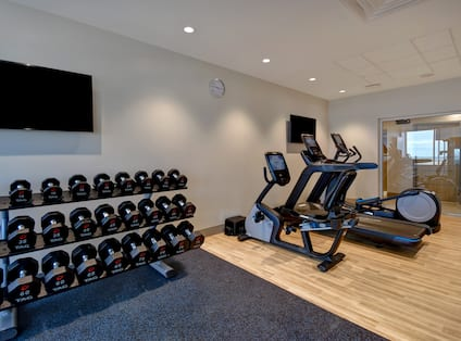 Fitness center with weights and cardio machines