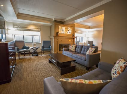 Presidential Suite Living Area with Lounge Seating, Television, Outside View and Fireplace