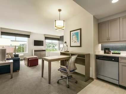 King Studio Suite with Kitchen, Work Desk, Living Area and Two Windows