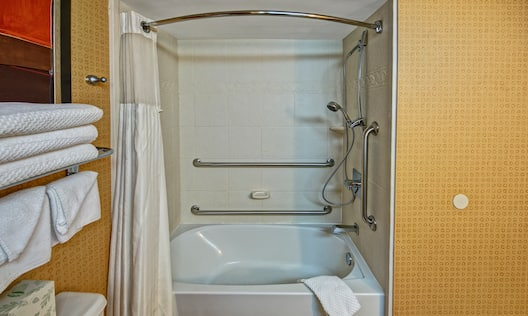Accessible Guest Bathroom Tub with Handrail