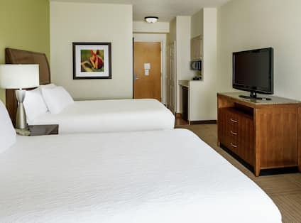 Two Beds, TV and Hospitality Area
