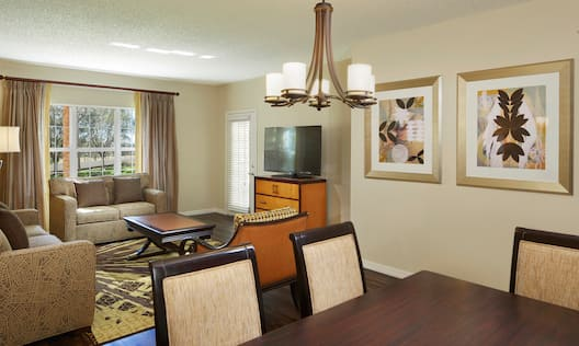 Three Bedroom Suite Living and Dining Areas