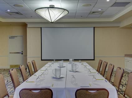 Meeting Room with Long Table and Projector