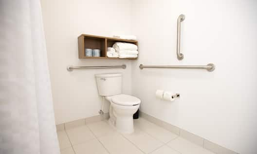Accessible toilet with bathroom amenities