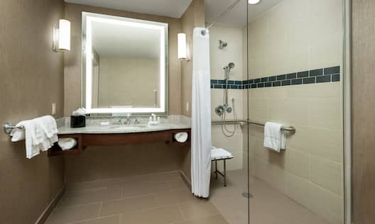 Accessible Roll-In Shower with Handrails and Bench
