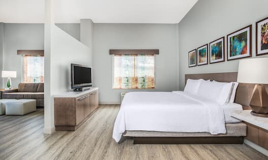 Guest Room with Large Bed and HDTV