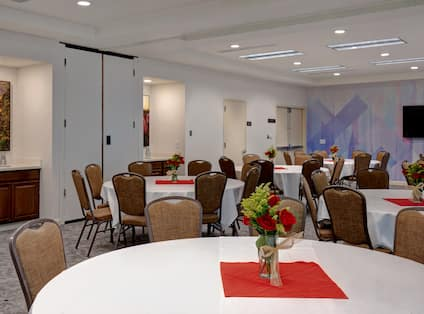 meeting space with tables and seating