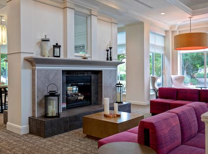front lobby seating area with fireplace
